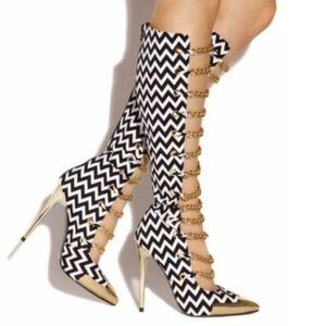 NWT Chevron Print gold chain heel boots 11 RARE